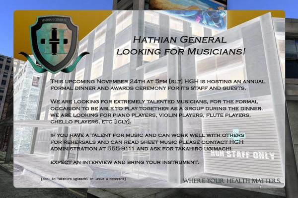 Hathian General Hospital Notice Musicians!